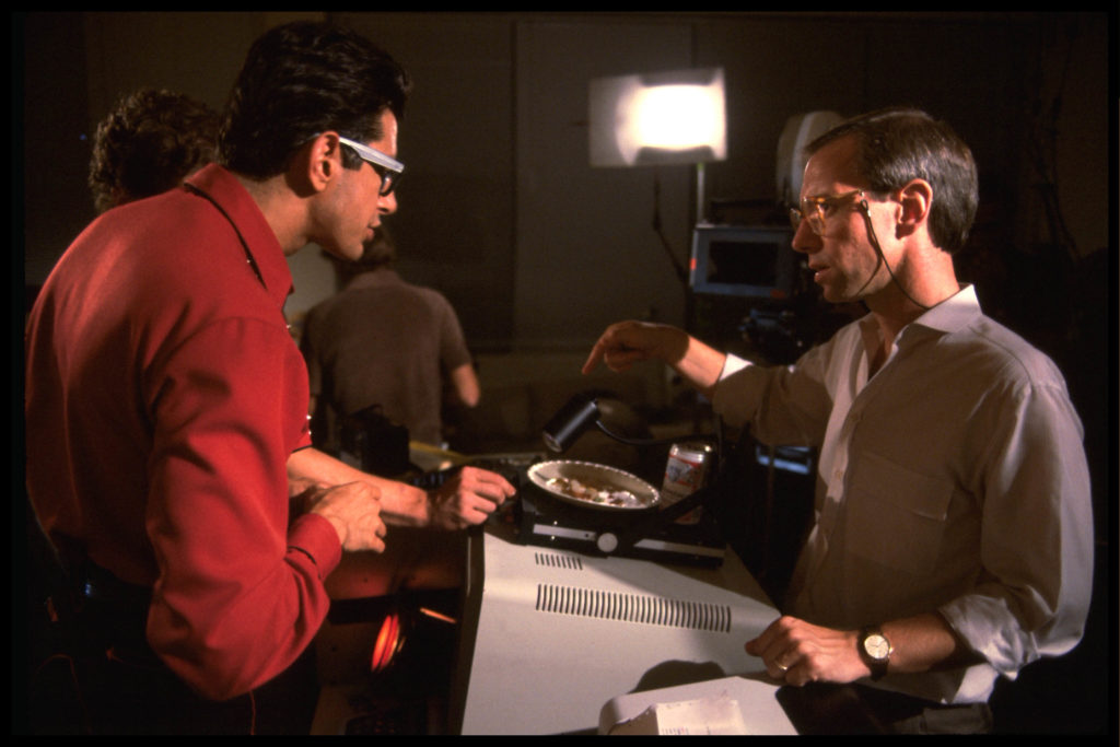 Jeff Goldblum and W.D. Richter block out a scene at the Banzai Institute.
